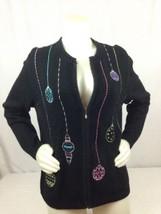 Christmas Sweater Croft & Barrow Women M Medium Black Xmas Decoration Balls - $29.39