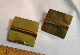 "1.25"" Brass Square Post Earrings for Pierced Ears Nice Patina Vintage - $25.41"