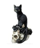 Alchemy Gothic Grimalkin's Ghost Desk Ornament Black Cat Skull Statue De... - $35.95
