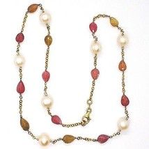 SILVER 925 NECKLACE, YELLOW, TOURMALINE DROP, PEARLS ROUND, CHAIN ROLO' image 2
