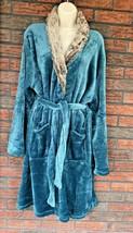Teal Fur Collar Robe Velour Knee Length Long Sleeve Soft Warm One Size M... - $34.30