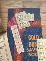 Vintage set of 3 unused Gold Bond Savers books & 28 unused stamps  image 3