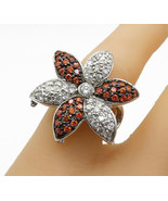 925 Sterling Silver - Cubic Zirconia Flower Motif Cocktail Ring Sz 7 - R... - $43.06