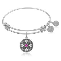 Expandable Bangle in White Tone Brass with Amethyst February Symbol - $27.50 - $43.00