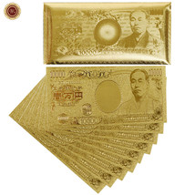 WR Golden Japan 10000 Yen Banknote Lot/10pcs Lucky Money In Envelope Gif... - $18.40