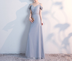 Gray Full Chiffon Bridesmaid Dresses Gray Wedding Bridesmaid Maxi Chiffon Dress  image 5