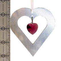 Aluminum and Crystal Heart Ornament  18mm image 4
