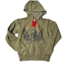 Blue BrandWomens Full Zip Hoodie  Live to Ride Skull Wings Graphic Sweat... - $26.73