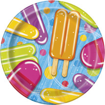 """Popsicle Party 8 Paper 7"""" Dessert Plates Summer Pool Beach - £2.37 GBP"""