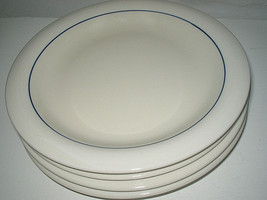 "4-pc set Gibson Housewares Casualware Blue Stripe Trim Salad plates 7"" - $21.99"