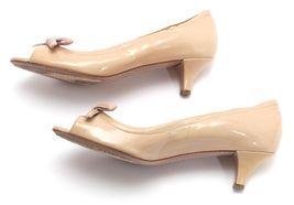PRADA SPORT Patent Leather Nude Bow Peep Toe Pump Silver Kitten Heel Sz 37 image 11