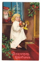 Christmas Santa Claus Girl with Candle Dolls Signed Clapsaddle Embossed ... - $19.95