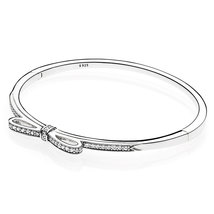 925 Sterling Silver Sparkling Bow, Clear CZ Bangle Bracelet QJBRC046 - $45.99