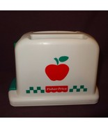 Toy Pop Up Toaster Kitchen Fisher Price 1997 Apple Graphic White Green R... - $12.89