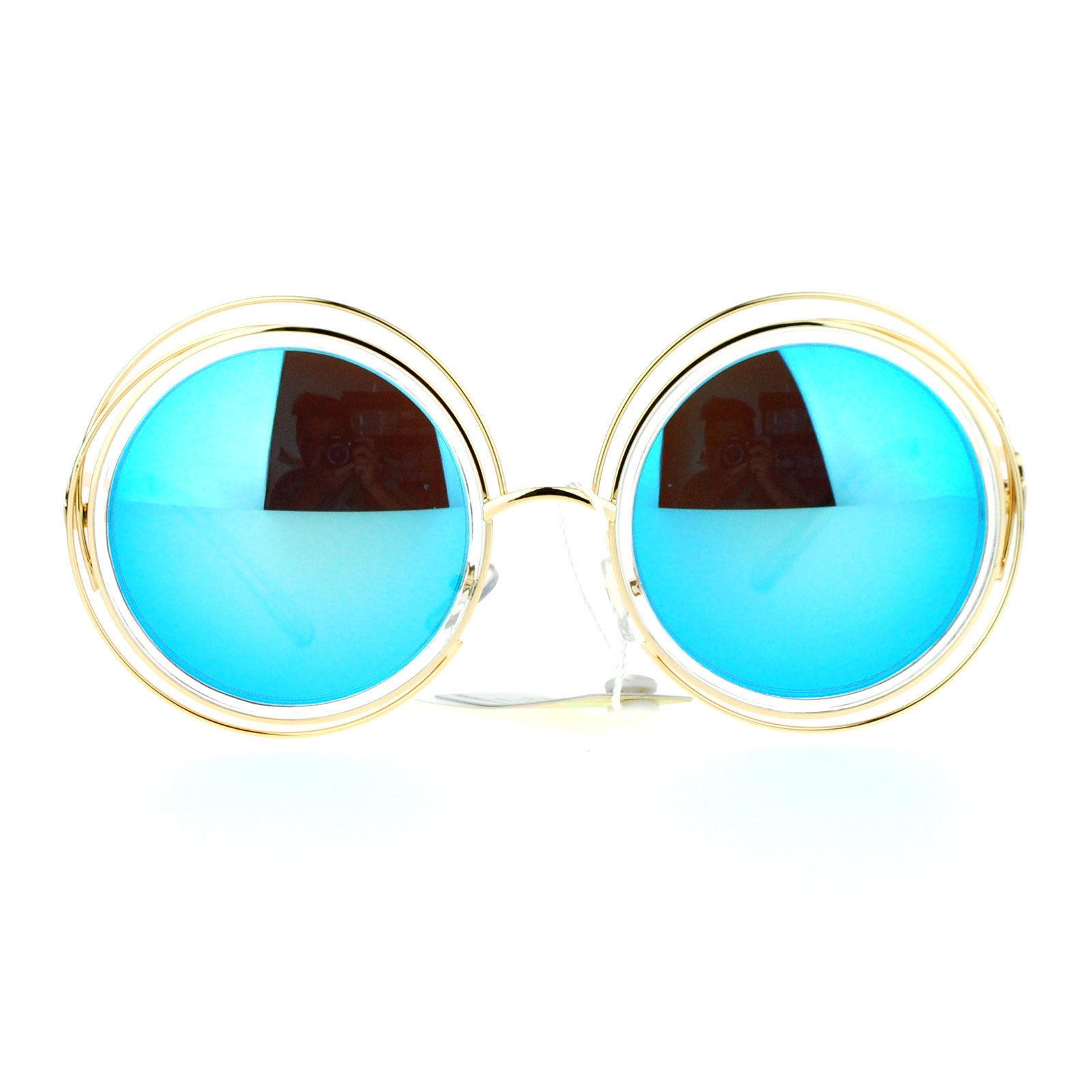 3b8dac87fea0 SA106 Double Scribble Frame Round Circle Mirrored Lens Retro Sunglasses