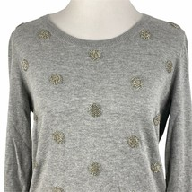 Talbots Sequin Polka Dot Sweater Womens Medium Grey Round Neck Knit Pull... - $34.64