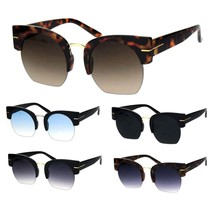 Womens Retro Mod Thick Plastic Half Horn Rim Crop Bottom Sunglasses - $12.95