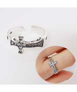 ASR04 Hand Finished Cross Adjustable Ring Cubic Zirconia All 925 Sterlin... - $32.71