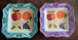 "Tabletops Unlimited Medici 2 Square Bowl Plates Fruits 92521 Scrolls 10"" - $39.99"
