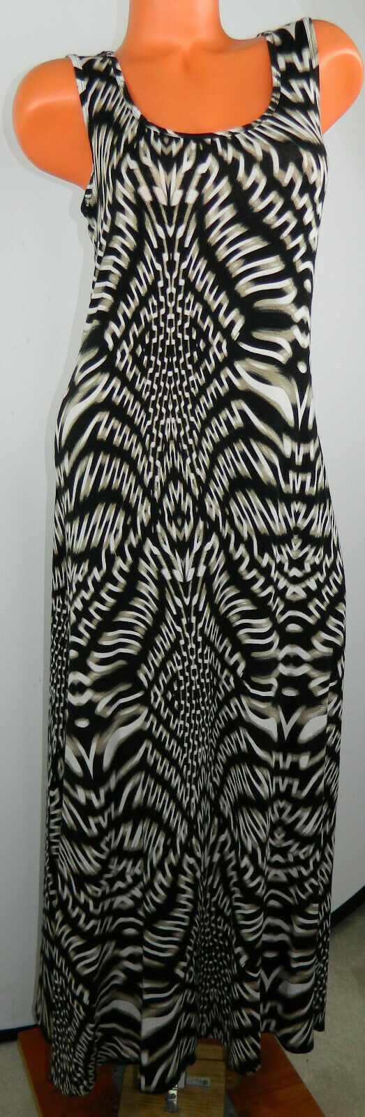 Calvin Klein Small 4 6 Maxi Dress Lace Black Tan Animal Print Sleeveless   #9