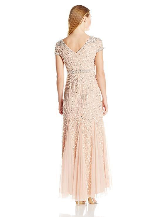 Adrianna Papell Cap Sleeve Beaded Lace Gown, Blush,2