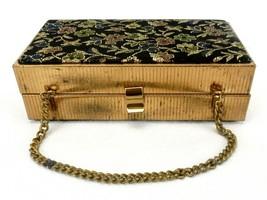 Vintage Metal Frame Box Purse, Barbara Bates, 1967, Floral Embroidered F... - $68.55