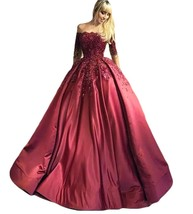 A line Strapless Burgundy Prom Dresses with Half Sleeves Formal Evening Gown - $169.00