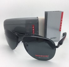 New PRADA Sport Sunglasses SPS 56M 1BO-1A1 62-14 Black Aviator Frame w/Grey Lens