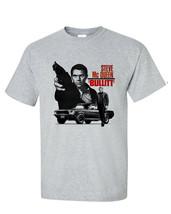Bullitt Steve McQueen T-shirt 1960's car movie ford Mustang gray 100% cotton tee image 2