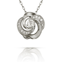 0.78 CT 14k White Gold Created Diamond Halo Flower Shape Charm Pendant w... - $123.15+