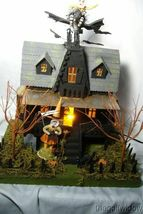 Bethany Lowe Haunted House & 2 Vintage Spun Cotton  Figurines!  light included image 9