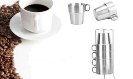 Double stainless steel coffee cup set - $39.99