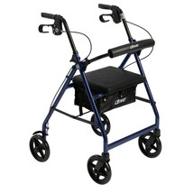Drive Medical Aluminum Rollator With Folding Back Support Blue - $90.81