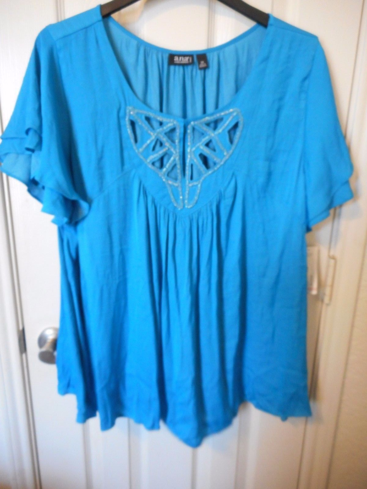 Women's a.n.a. Embellished Short Sleeve Blouse Meridian Blue Size 3X NEW