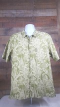 Columbia XCO Shirt Mens Short Sleeve Button Front Size L Green Floral Print - $12.86