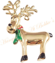 Reindeer Pin Brooch Red Green Scarf Goldtone Metal Christmas Holiday - $16.99