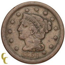 1854 Braided Hair Large Cent 1C Penny (Fine+, F+ Condition) - $29.69