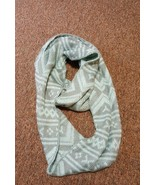 Aztec Print Scarf Womens Infinity Scarf Mint Green Gray Winter - $4.95