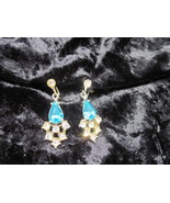 Vintage Exquisite blue and white rhinestone screw backs great for holidays - $15.00