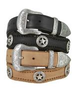 """Silver Western San Antonio - Star Concho Leather Cowboy Belt, 1-1/2"""" Wide - $44.95"""