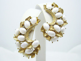 Vintage BSK Faux Pearl Brushed Gold Plate Huggie Clip on Earrings Leaf B... - $14.36