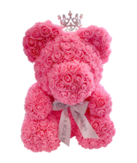 The Rose Bear Princess Queen Pink Teddy Cub with Mini Crystal & Pearl Crown - $158.39