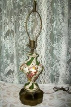 Italian Capodimonte Hp Grecian Ladies Roses Table Lamp Brass Dolphin Feet 1930's - $169.99