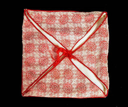 Victorian Hanky Case Bobbin Lace Overlay Red  White Silk - $40.94