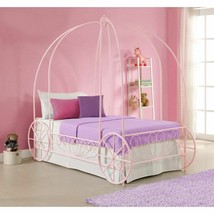 Girls Pink Twin Size Metal Canopy Bed Frame Princess Carriage Headboard ... - $306.80