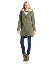 Bench Women's Long Green Hawkish Jacket Winter Coat w Soft Lining BLKA1773 NWT