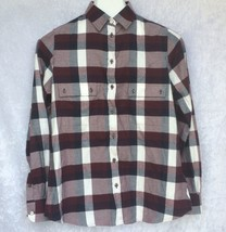 Barbour Dovedale Shirt Button Front Maroon Blue Plaid Regular Fit Womens New - $52.49