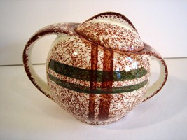Geometric Mod Rustic Plaid Sugar Bowl with Lid Blue Ridge Southern Potte... - $28.30