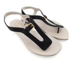 New SERGIO ROSSI Size 5 Black Suede Flat Sandals Shoes 35 - $89.00