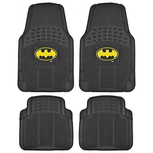 BDK WBMT-1372+MT-802-BK_AMZCJ2 Black Car Floor Mat Batman